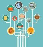Geschäftson-line-Handel mit Ikonen im flachen Retrostil Lizenzfreies Stockfoto