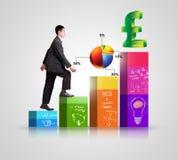 Geschäftsperson auf einem Diagramm, Erfolg und Wachstum darstellend Stockbilder