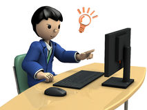 Geschäftsperson, die zu Information sucht Stockbild