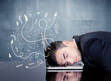 Geschäftsperson mit frustrierten Gedanken Stockbilder