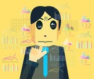 Geschäftspersonenmonitor und Berühren von bunten Diagrammen und von Diagrammen Lizenzfreie Stockfotos