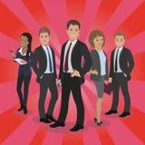 Geschäftspromischattenbild auf rotem Teppich Männlich-weibliche Leuteaufstellung Stockfotos