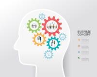 Geschäftsprozess und Geschäft kreativ im Konzept des menschlichen Kopfes vektor abbildung