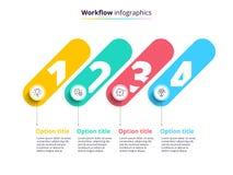 Geschäftsprozessablaufdiagramm infographics mit 4 Schrittkreisen Circula vektor abbildung