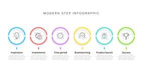 Geschäftsprozessablaufdiagramm infographics mit 6 Schrittkreisen Kreisunternehmensarbeitsflussgraphikelemente E vektor abbildung