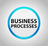 Geschäftsprozesse ringsum blauen Druckknopf lizenzfreie abbildung