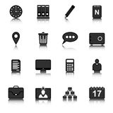 Geschäftssatz Ikonen in einem dunklen Schatten Stockbilder