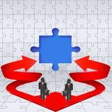 Geschäftsschablonenpuzzlespiel mit Pfeilen. Stockbilder