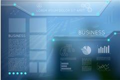 Geschäftsschablonenseite mit blauen abstrakten Vektorhintergründen Lizenzfreie Stockfotografie