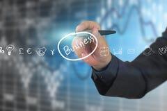 Geschäftsschirm mit Social Media-Ikonen Stockfotografie