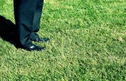 Geschäftsschuhe im Gras stockfoto