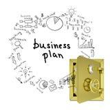 Geschäftsskizzen von einem offenen Safe Stockfoto