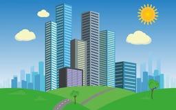 Geschäftsstadt auf grünem Sommergras Stockfotos