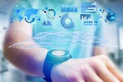 Geschäftsstatistik angezeigt als Diagramm und Diagramm auf einem futuristischen inte Lizenzfreies Stockbild