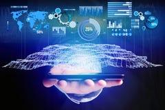 Geschäftsstatistik angezeigt als Diagramm und Diagramm auf einem futuristischen inte Lizenzfreie Stockfotografie