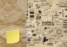 Geschäftsstrategie auf zerknittertem Papierumschlaghintergrund Stockfotos