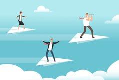 Geschäftsteam auf Papierflugzeugen Gelegenheiten, Teamwork und neuer Führer vector flaches Konzept stock abbildung