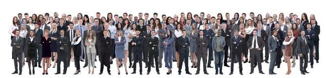 Geschäftsteam bildete sich von den jungen Geschäftsmännern und von den Geschäftsfrauen, die über einem weißen Hintergrund stehen stockbilder