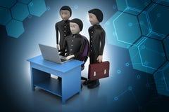 Geschäftsteam, das einen Laptop betrachtet Stockfotografie