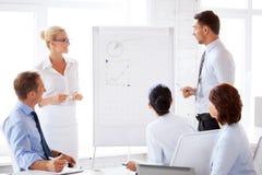 Geschäftsteam, das mit Flip-Chart im Büro arbeitet stockbilder