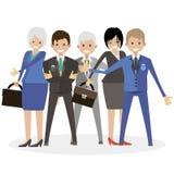 Geschäftsteam in einer Teamwork mit einem Führer am Kopf des Leiters Flache Illustration des Charakterleute-Vektors Stockbilder