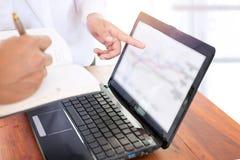 Geschäftsteamwork, die Daten mit einem Finanzdiagramm auf Laptop-Computer auf einem Schreibtisch bespricht Lizenzfreie Stockfotografie