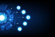Geschäftstechnologie, futuristischer pixelate Digital Computer, Dateninformationen, Zeichen und elektrischer Blaulichtneonschein  lizenzfreie abbildung