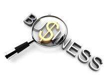 Geschäftstext mit Dollar und Vergrößerungsglas Lizenzfreies Stockfoto