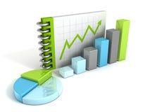 Geschäftstorte und Balkendiagramm und wachsender Erfolgspfeil auf Briefpapierbuch Lizenzfreies Stockfoto