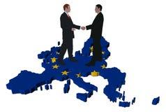 Geschäftstreffen auf EU-Kartenmarkierungsfahne Stockfoto