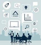 Geschäftstreffen mit Ikone für Geschäftskonzept Stockfotos