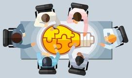 Geschäftstreffen-Strategiebrainstormingkonzept Vector Illustration in einer Vogelperspektive mit den Leuten, die in einem Büro um lizenzfreie abbildung