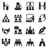 Geschäftstreffen, Training, Seminar, Interview, Konferenzikone lizenzfreie abbildung