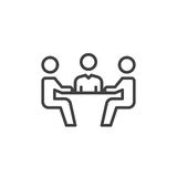Geschäftstreffenlinie Ikone, Entwurfsvektorzeichen, lineares Artpiktogramm lokalisiert auf Weiß Symbol, Logoillustration Editable stock abbildung