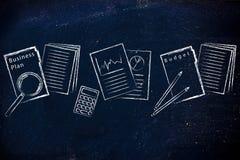 Geschäftsunterlagen: Ordner, Statistik und Budget Lizenzfreie Stockbilder