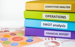 Geschäftsunterlagen und Mappen, strategische Planung für Manager Lizenzfreies Stockfoto