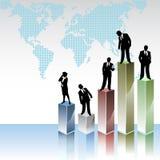 Geschäftsvölker mit Statistikgraphiken Stockfoto