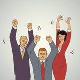Geschäftsvektorillustration mit ofice Leuten heben Hände und glückliche an Stockfotografie