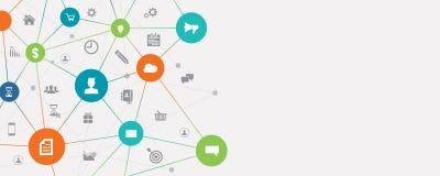 Geschäftsverbindung auf Konzept des Sozialen Netzes lizenzfreie abbildung
