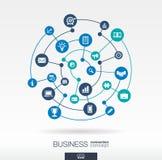 Geschäftsverbindungskonzept Abstrakter Hintergrund mit integrierten Kreisen und den Ikonen für Strategieforschung, digital Stockbild