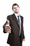 Geschäftsvereinbarung - anbietenhändedruck des Klagemannes Stockfotos