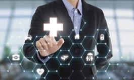 Geschäftsverkäufermittel-Handpressen-Knopfschutzgesundheit Stockfotos