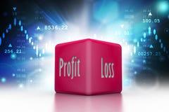 Geschäftswürfelzeigen Gewinn- und Verlust im Farbhintergrund Stockbild