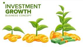 Geschäftswachstums-Konzeptvektor Anlage vom Geld Dollar und Euro Success Company Lokalisierte flache Karikaturillustration Lizenzfreie Stockfotos