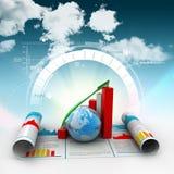 Geschäftswachstumsdiagramm und -kugel Stockfotografie