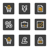 Geschäftsweb-Ikonen, Grau knöpft Serie Stockfotografie