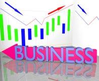 Geschäftswort auf Pfeil und Statistik-Diagramm Lizenzfreie Stockbilder