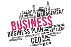 Geschäftswort-Wolkencollage, Geschäftskonzepthintergrund Risikokapital stock abbildung