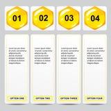 Geschäftszahlfahnen Schablone des modernen Designs des Bienenstocks oder Websiteplan Information-Grafiken Vektor Lizenzfreies Stockbild