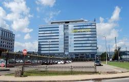 Geschäftszentrum ` Kubik-` in Stroiteley-Boulevard Krasnogorsk Lizenzfreies Stockfoto